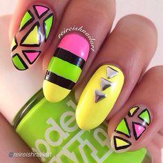 cute pink green yellow neon nail art by nailinghollywood