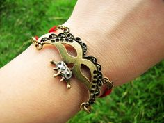 Red Soft Leather Vintage Style Antique Bronze by braceletcool, $6.50