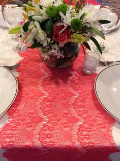 5ft Wedding Coral Lace Table Runner, 16in Wide x 62in Long, Lace Overlay, Wedding Decor on Etsy, $8.95