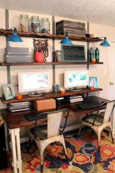 Home Office Transformation! From cluttered to #organized and happy with some #DIY shelving and some homey decor and organizing help from @HomeGoods. The Tolix style distressed metal #chairs are my favorite! The orange ramekins, mail sorter, and orange chevron box hold office clutter and keep it organized, while the frames, chalkboard, lovely vase, and adorable walnut owl cutout make it homey and stylish.  We love our new organized office! #sponsored #happyhomeresolutions Remodelaholic.com homework station, office spaces, offic transform, organized office, wall shelves, desk, shelving office, home offices, homey decor