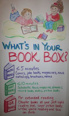 Anchor Chart ~ What's in your book box (or collection of reading materials).  Important discussion!