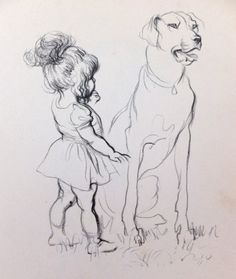 Vintage Picture. Print of Dogs with children. 1930s picture,  Black and White Drawings Pencil drawings on Etsy, £10.00