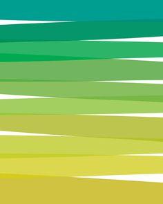 Green Ombre Wall Decor - 8x10 Art Print - Home, Decorative