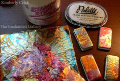 Kimberly Crick's instruction page for decorating dominoes with rubber stamps covering the basics for markers, paints, chalk coloring, Adirondack alcohol inks by Tim Holtz / Ranger Ink and other coloring products that help make domino art easy.