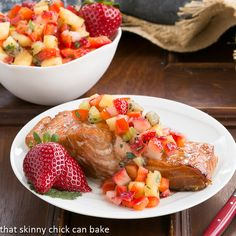 Strawberry Salsa Topped Salmon | Perfect for strawberry season from That Skinny Chick Can Bake