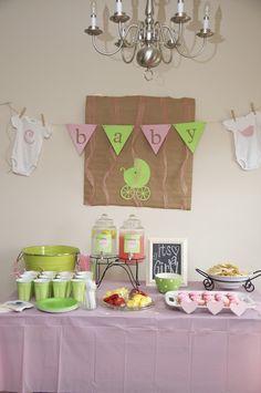 shower ideas, pink green baby shower, green babi, baby shower decorations, drink, baby girl shower, babi shower, banner, baby showers