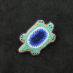 Turquoise Turtle Pin Native American Beadwork