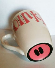 Hand Painted Adorable Pig Snout Coffee Mug Oink by SweetSassySips, $7.00