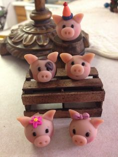 Party Pigs Polymer Clay Figurine