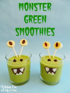 Monster Green Smoothies for Kids! kid food, green smoothi, monster green