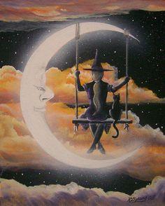 luna, moon buddi, witchi, witch moon, moon swing, swings, art, moon magic, halloween