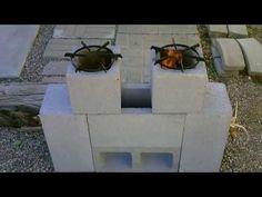 "The ""6 Block"" Rocket Stove! DIY - ""DUAL BURNER"" Rocket Stove! (Concrete Block Rocket Stove) DIY"