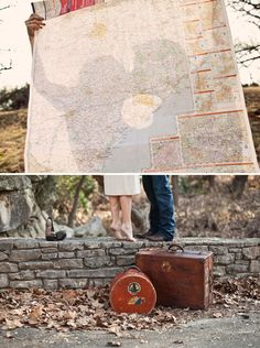 Creative engagement photography ideas with a travel photography concept with vintage props
