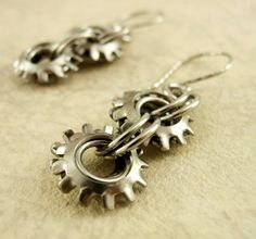 On The Edge Steampunk Chainmaille Earrings in Stainless Steel by unkamengifts, $ 20.00