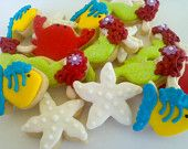 These sugar cookies are a great snack for a Little Mermaid themes movie party - A Southern Outdoor Cinema movie snack & food idea for outdoor movie events.
