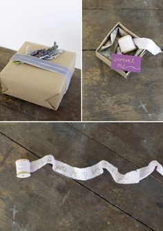 A wooden spool with a frayed fabric ribbon that unravels to pop the question to your bridesmaids