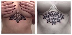(pinning to show sternum tattoo with a bra - important to consider how it looks with bra!)