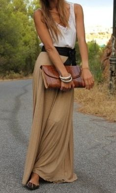 White silk tank, black tie belt, and beige maxi skirt