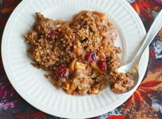 Autumn Fruit Crumble is a perfect after-holiday brunch dish to use up those extra cranberries! Whole-foods based, grain-free, sugar-free.