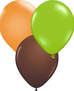 Green, brown and orange balloons - great colour combination for a dinosaur party