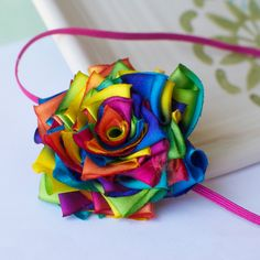 Rainbow flower hairbow - MyLittlePixies.etsy.com