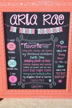 First Birthday Chalkboard Stats Sign