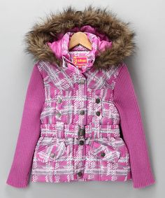 Take a look at this Fuchsia Plaid Sweater-Sleeve Coat - Toddler by Dollhouse on #zulily today!