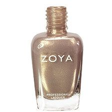 zoya nail polish in jules - a sparkling neutral light taupe with gold, silver and champagne metallic shimmer.