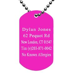 Engraved Dog Tag ID Necklace for Runners - Pink