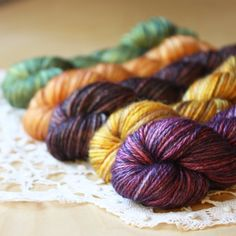 Limited edition, just five packs available!  Hand dyed luxurious mini skeins, super super soft and silky, in delicious Autumn colors.  Hand dyed by Phydeaux.  :)