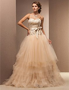 Ball Gown Sweetheart Floor-length Lace And Tulle Wedding Dre... – USD $ 176.99