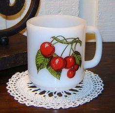 Milk Glass Glasbake Mug or Cup with Cherries