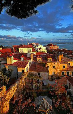 "The neigborhood of ""Alfama "" - the ancient historical part of Lisbon ,nearby the castle of St.George (Castelo de São Jorge )."