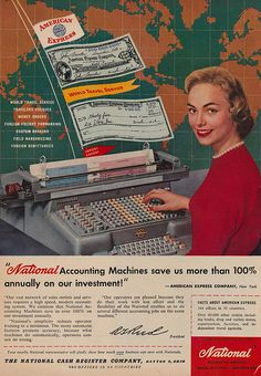A combination American Express and National Accounting Machines ad from the 1950s. #vintage #office #1950s #secretary #ads