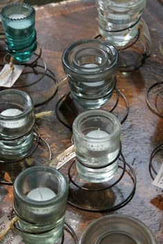 Old glass insulators turned votives