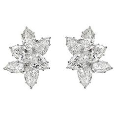 Estate Harry Winston Diamond Cluster Earrings