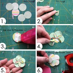 circles, flower making, craft, idea, orang, scrapbook paper flowers, handmade flowers, design, cards