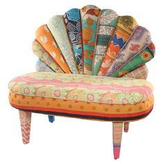 One-of-a-kind peacock loveseat with mango wood frame. Upholstered with reclaimed Kantha throws.   Product: ChairCons...