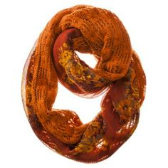 Mossimo Supply Co. Floral Woven Reversible Knit Infinity Loop Scarf - Orange