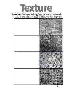 Elements of Art Workbook Pages 4th-5th Grade. Have students go around and have them get texture rubs with crayons