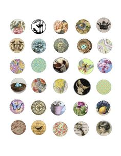 FREEBIE vintage bottle cap images.  Print on OnlineLabels.com adhesive full sheet labels and use 1 inch hole punch.