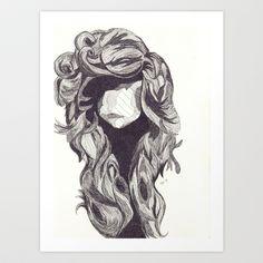 Ink Hair Art Print by Paxelart - $20.80