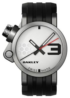 Brushed/White Dial/Black Rubber Strap