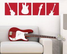 Guitar Wall Decal Squares - Vinyl Wall Art Sticker - Boy Bedroom Wall Decal - Music Guitar - TR113B. $18.00, via Etsy.