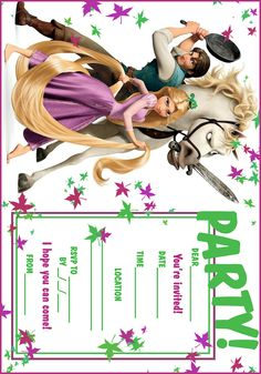 Tangled Free printable party invites