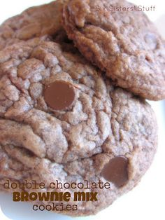 Double Chocolate Brownie Cookies on SixSistersStuff.com