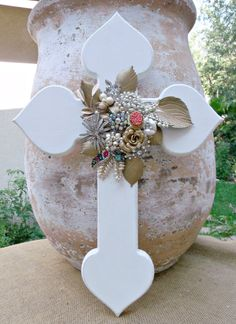 White Hanging Wooden Cross. Hand Painted Wall Decor. by Relek, $145.00