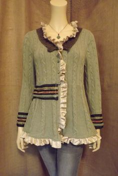 Lagenlook Upcycled Romantic Ruffled Sweater Jacket One of a Kind Size M