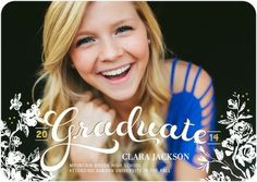 Garden Graduate - Graduation Announcements - Stacey Day for Tiny Prints features a beautiful white font and design. #graduation