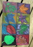 fall oil pastels drawings, fall art, fall leaves, art project, art lessons, buckets, colors, oil pastels, lesson idea